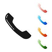 Black Telephone handset icon isolated on white background. Phone sign. Set icons colorful. Vector Illustration