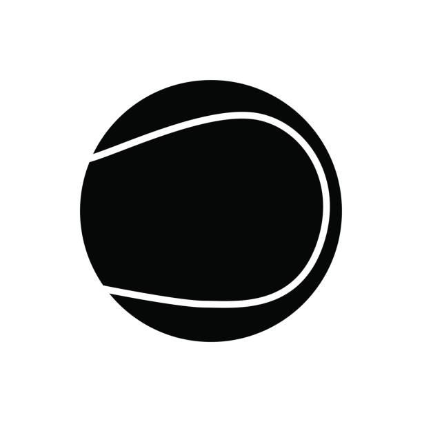schwarz tennis ball silhouette, isolated on white background - wimbledon stock-grafiken, -clipart, -cartoons und -symbole