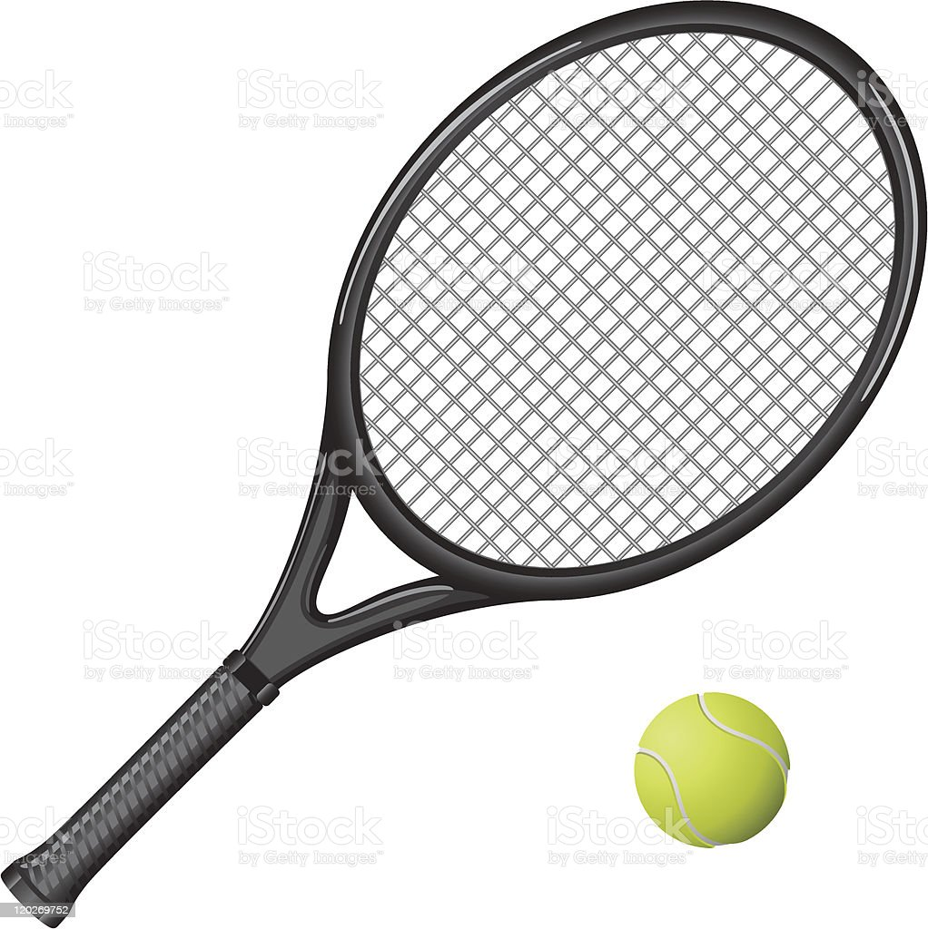 Black tennis racket and yellow ball royalty-free black tennis racket and yellow ball stock vector art & more images of activity