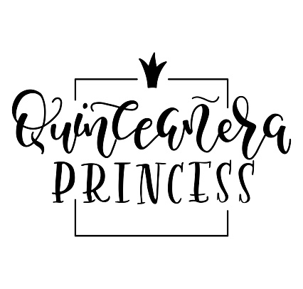 Black text for Latin American girl birthday celebration, Quinceanera princess. Vector illustration isolated on white background. Spanish phrase.