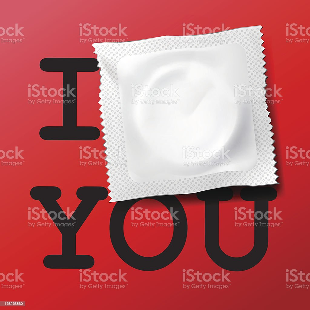 Black text on red of I-blank-You with condom over the blank vector art illustration