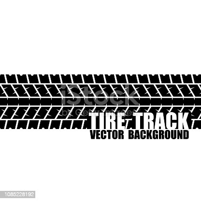 Black tire track silhouette with sample text