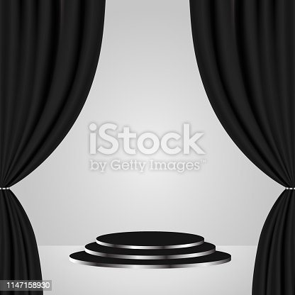 Podium with black curtain. Empty pedestal for award ceremony