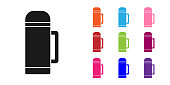 Black Thermos container icon isolated on white background. Thermo flask icon. Camping and hiking equipment. Set icons colorful. Vector Illustration