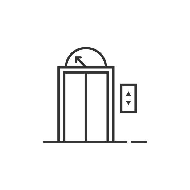 illustrazioni stock, clip art, cartoni animati e icone di tendenza di black thin line elevator icon for house or hotel - ascensore