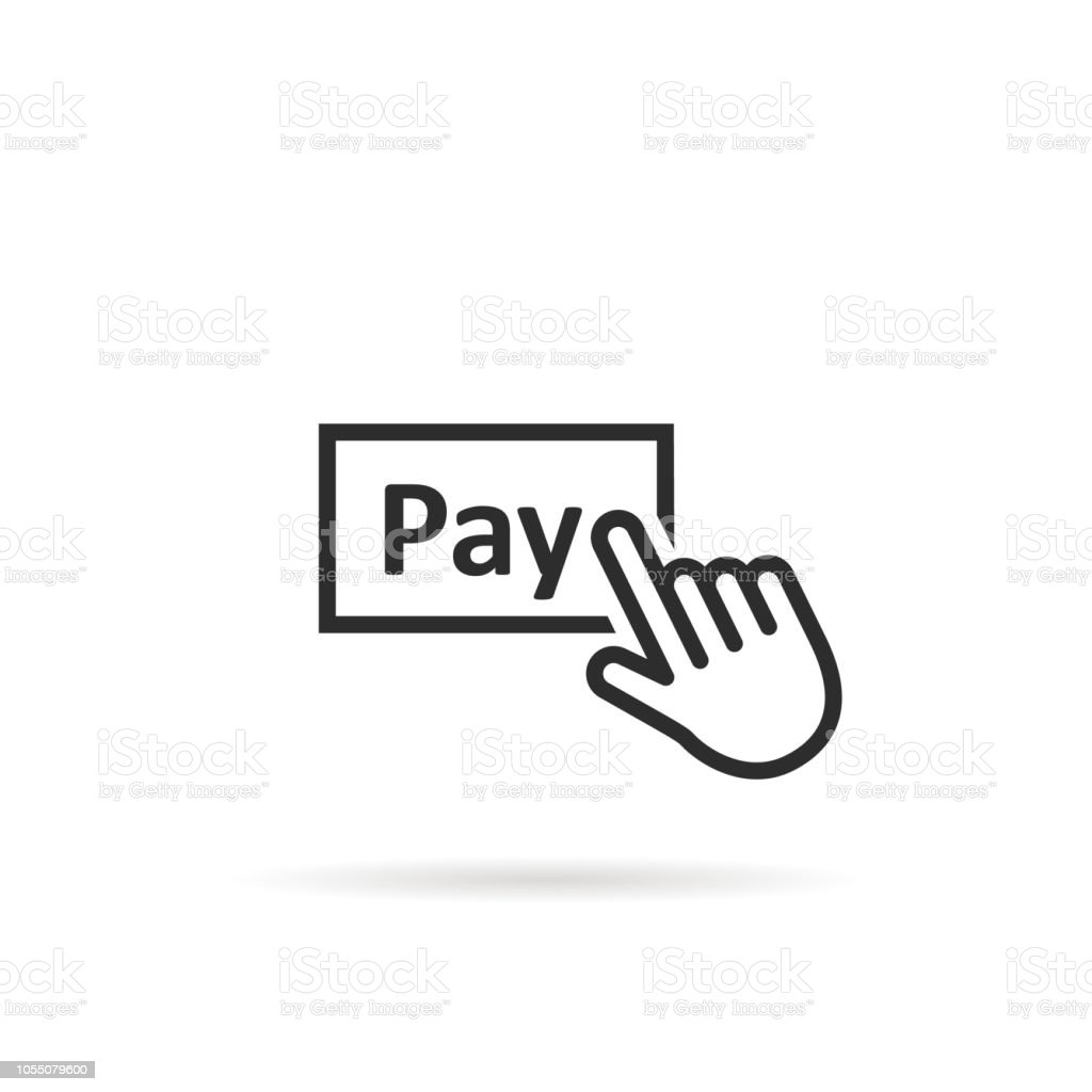 black thin line finger presses on pay button