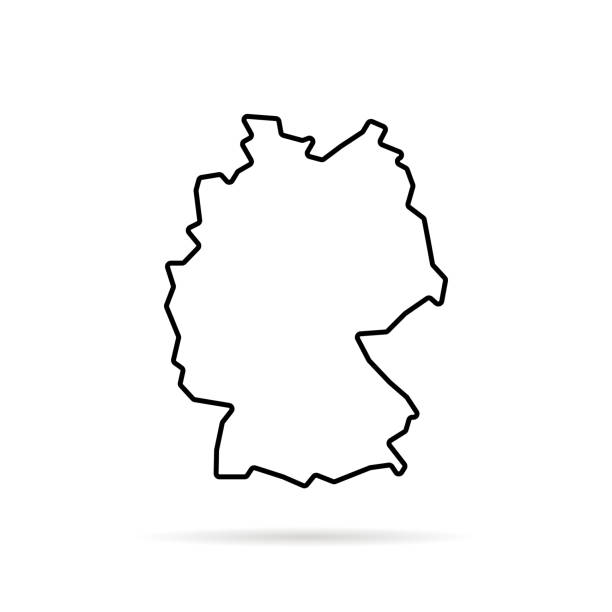 czarna cienka linia mapa niemiec z cieniem - niemcy stock illustrations