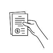 istock black thin line hand holding invoice 1241906431