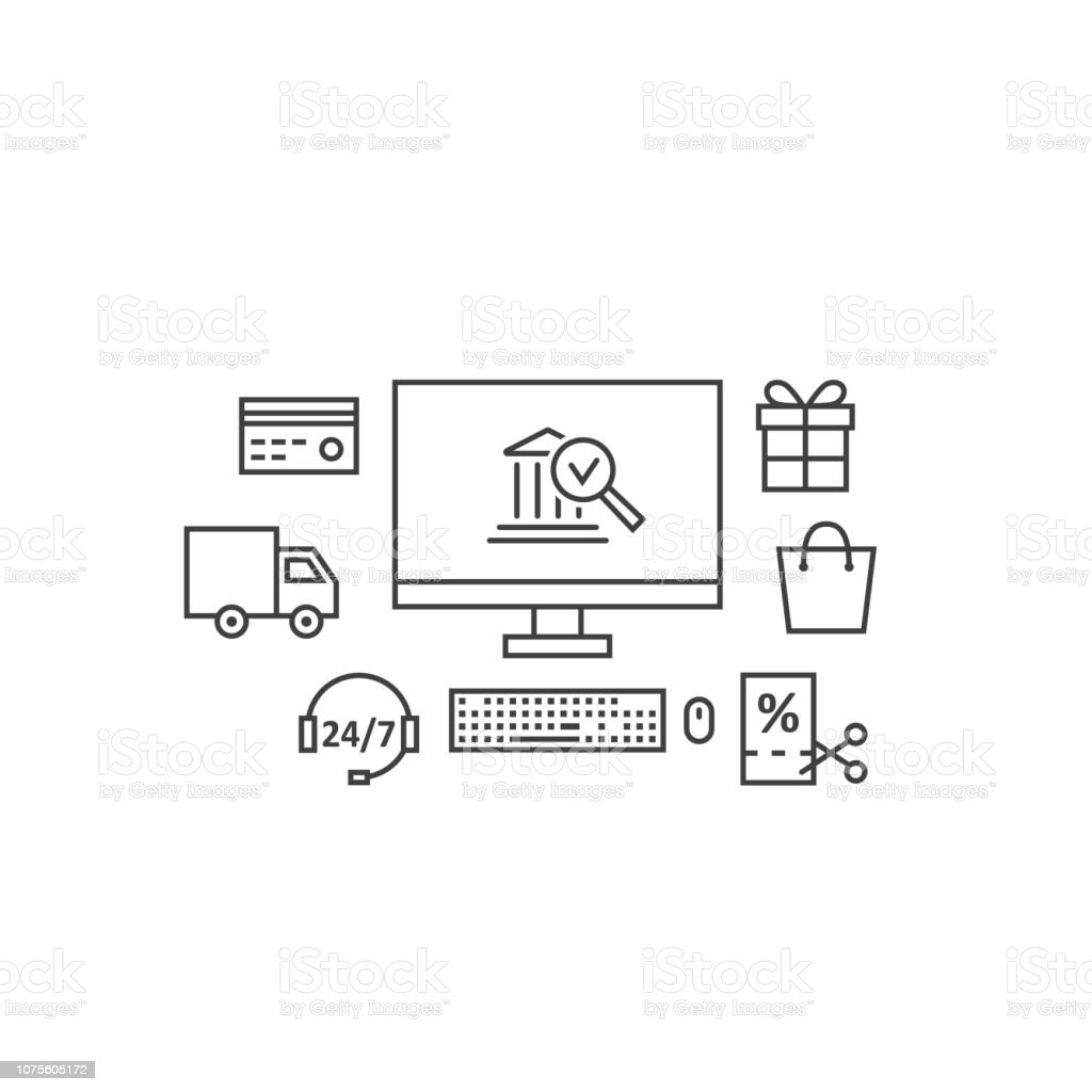Black Thin Line Payment Gateway Banner Stock Illustration
