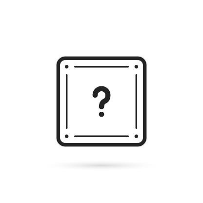 black thin line question box