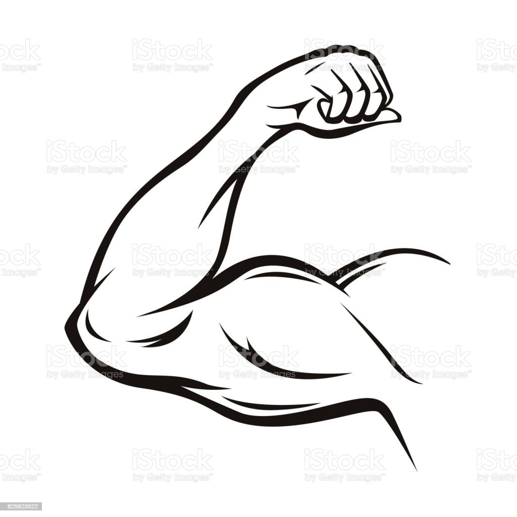 Black Thin Line Strong Arm. Vector vector art illustration