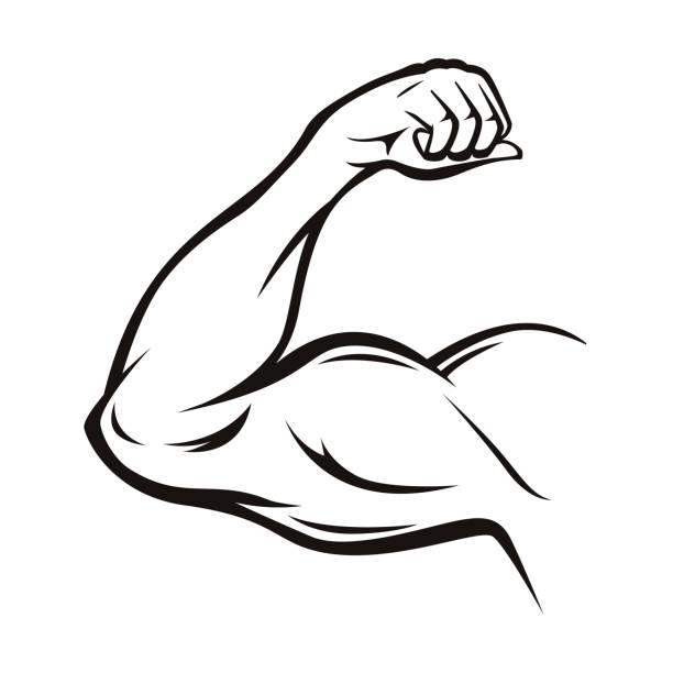 Black Thin Line Strong Arm. Vector vector art illustration