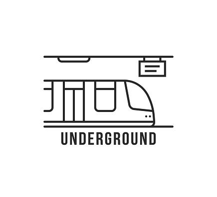 black thin line underground train icon