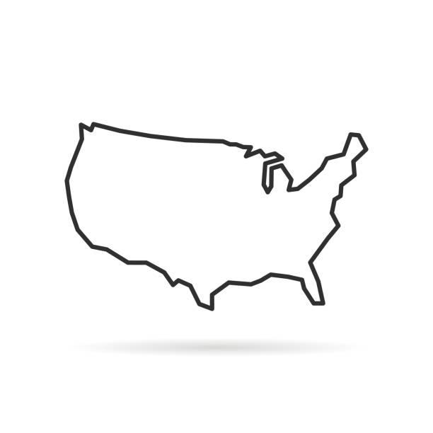 그림자와 함께 검은 얇은 선 미국 아이콘 - 지도 실루엣 stock illustrations