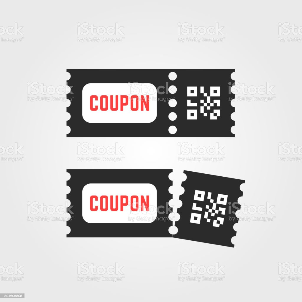 Black Ticket Coupon Icon With Qr Code Stock Vector Art & More Images ...