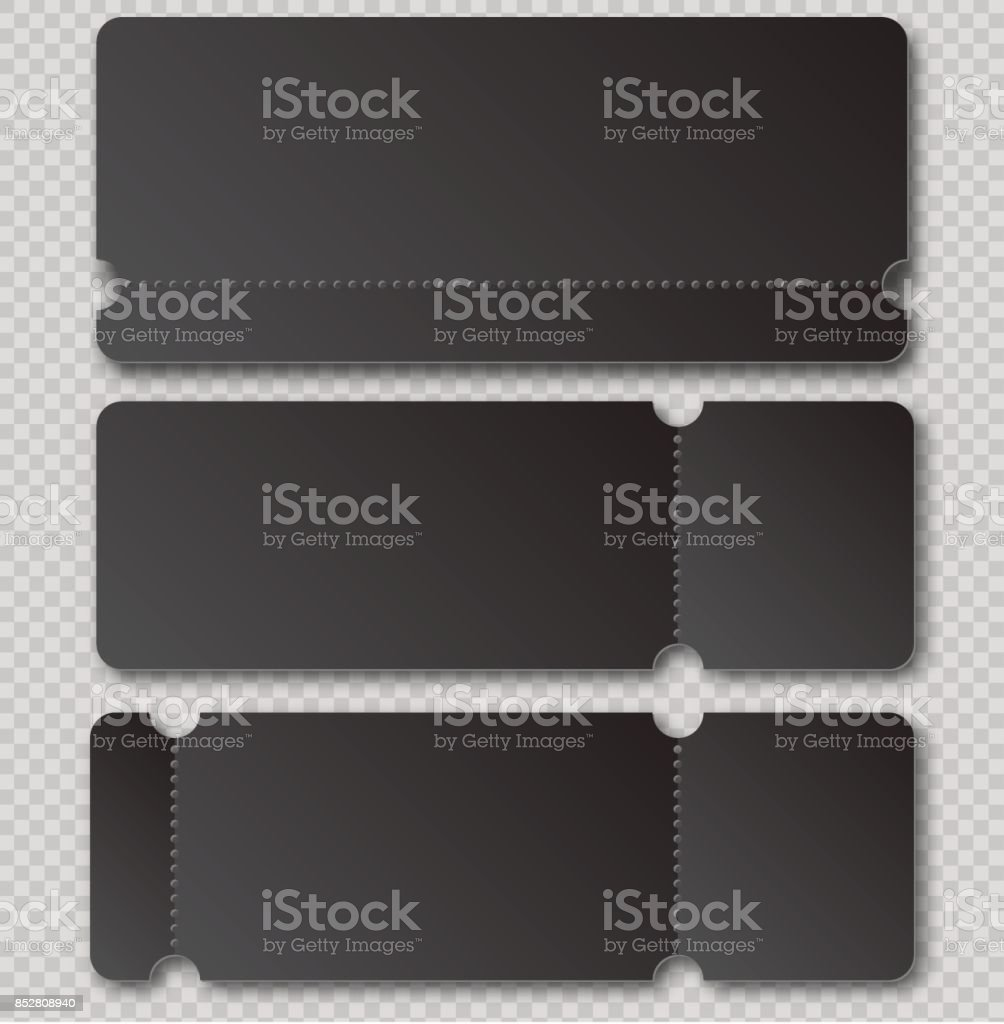 Black ticket template with tear-off element isolated on transparent background. Music, Dance, Live Concert event entrance vector invitation card. Lottery blank vector art illustration