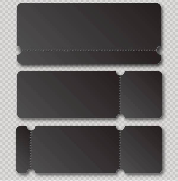 Schwarzen Ticketvorlage mit Abreiß Element auf transparenten Hintergrund isoliert. Musik, Tanz, Live-Konzert-Event Eingang Vektor Einladungskarte. Lotterie leer – Vektorgrafik