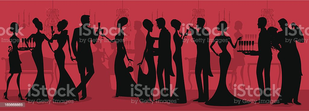 Black Tie Ball Silhouette vector art illustration