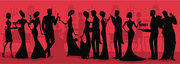 black tie ball silhouette - black tie events stock illustrations, clip art, cartoons, & icons