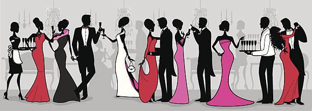 black tie ball - black tie events stock illustrations, clip art, cartoons, & icons