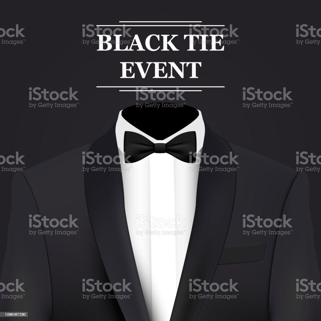 Black Tie Event Invitation Card Stock Illustration