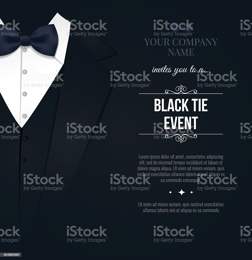 Black Tie Event Invitation - ilustración de arte vectorial