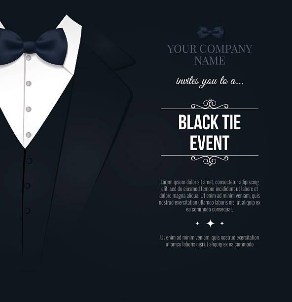 black tie event invitation - black tie events stock illustrations, clip art, cartoons, & icons