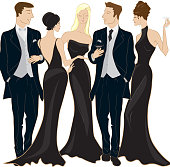 For a Black and White Ball or formal event.  Adults mingling. Each person is fully drawn so the group can be easily rearranged.