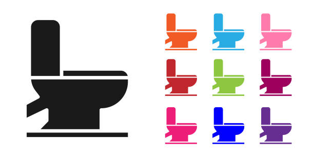 Black Toilet bowl icon isolated on white background. Set icons colorful. Vector Illustration Black Toilet bowl icon isolated on white background. Set icons colorful. Vector Illustration flushing toilet stock illustrations