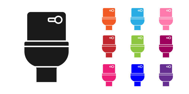 Black Toilet bowl icon isolated on white background. Set icons colorful. Vector Black Toilet bowl icon isolated on white background. Set icons colorful. Vector. flushing toilet stock illustrations