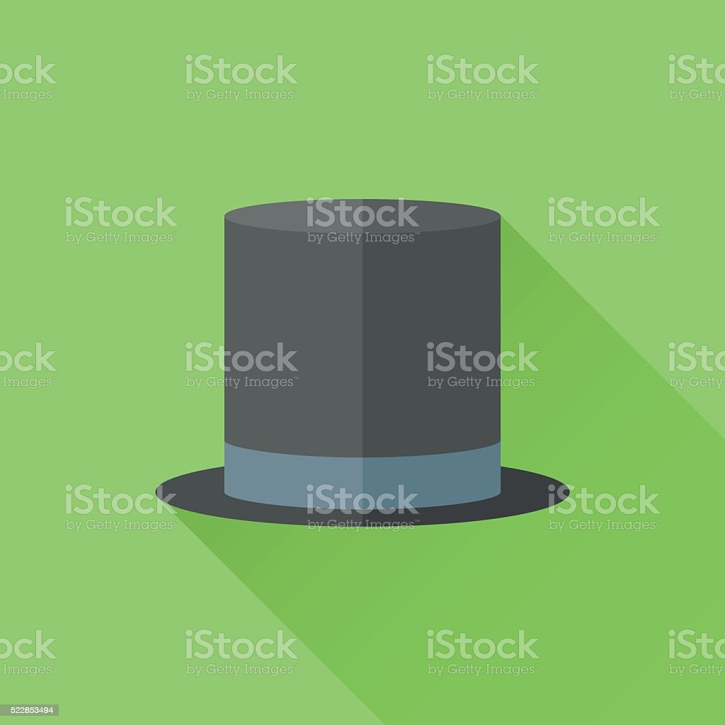 Black top hat flat icon with long shadow vector art illustration