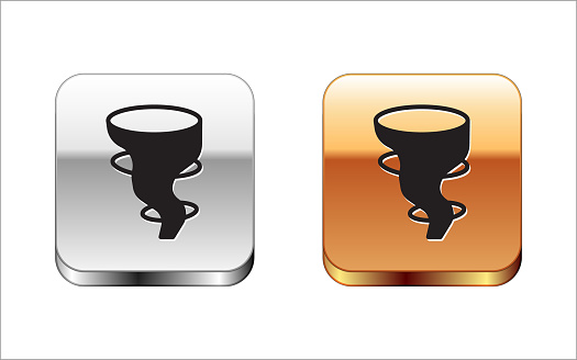 Black Tornado icon isolated on white background. Silver-gold square button. Vector