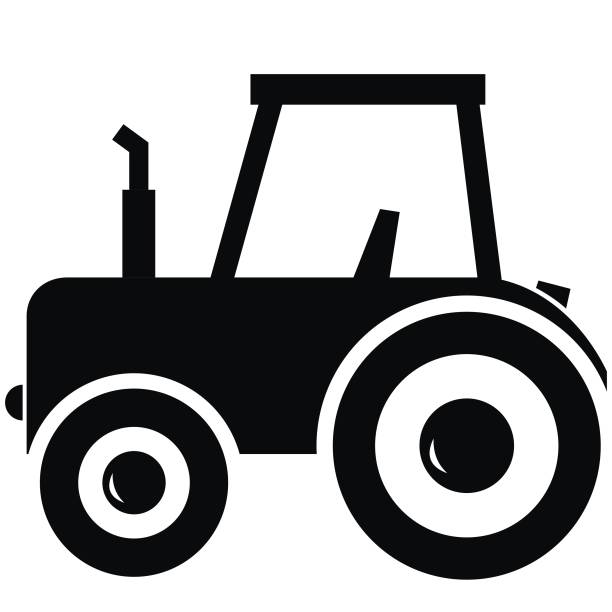 ilustrações de stock, clip art, desenhos animados e ícones de black tractor, vector icon - exhaust white background