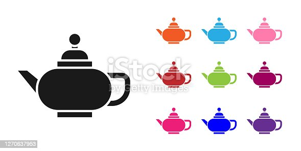 Black Traditional Chinese tea ceremony icon isolated on white background. Teapot with cup. Set icons colorful. Vector Illustration
