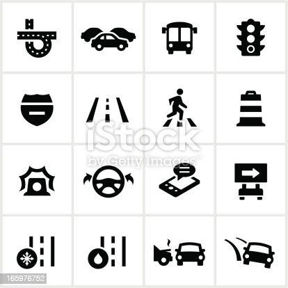 Traffic/Driving icons. All white strokes/shapes are cut from the icons and merged allowing the background to show through.