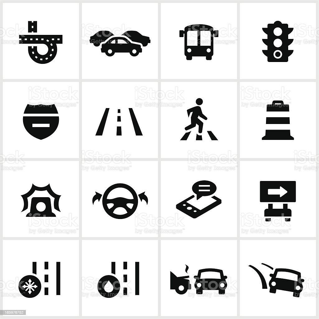 Tráfico iconos negro - ilustración de arte vectorial