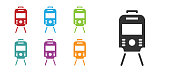 Black Tram and railway icon isolated on white background. Public transportation symbol. Set icons colorful. Vector.