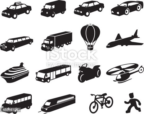 Black transport icon set. Set includes taxi, delivery van, car, sports car, stretch limousine, semi-truck, hot air balloon, jumbo jet aircraft, cruise ship, bus, motorbike, helicopter, mini-bus, train, bicycle and person on foot icons. All icons are three dimensional and at an angle. All are independently editable and isolated on white.