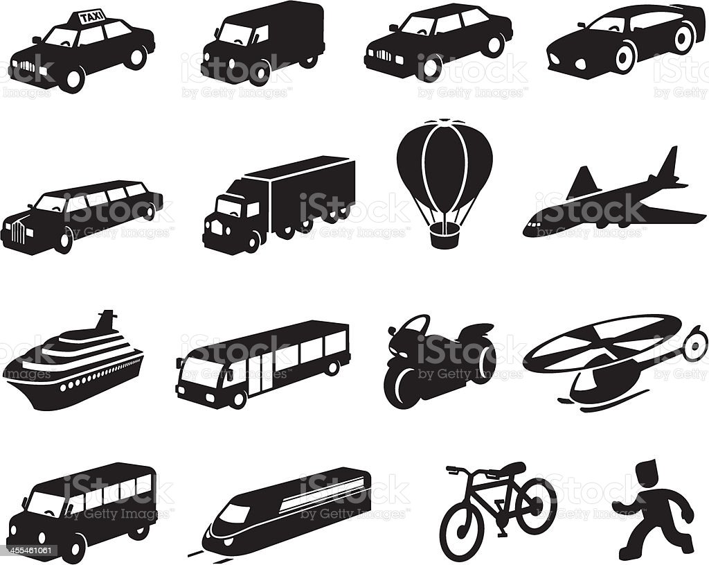 Black Transport Icon Set vector art illustration