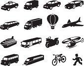 Black Transport Icon Set