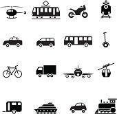 Black transportation set icon