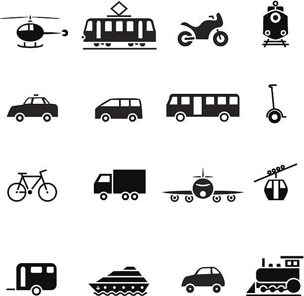 Black Transport-set-icon – Vektorgrafik
