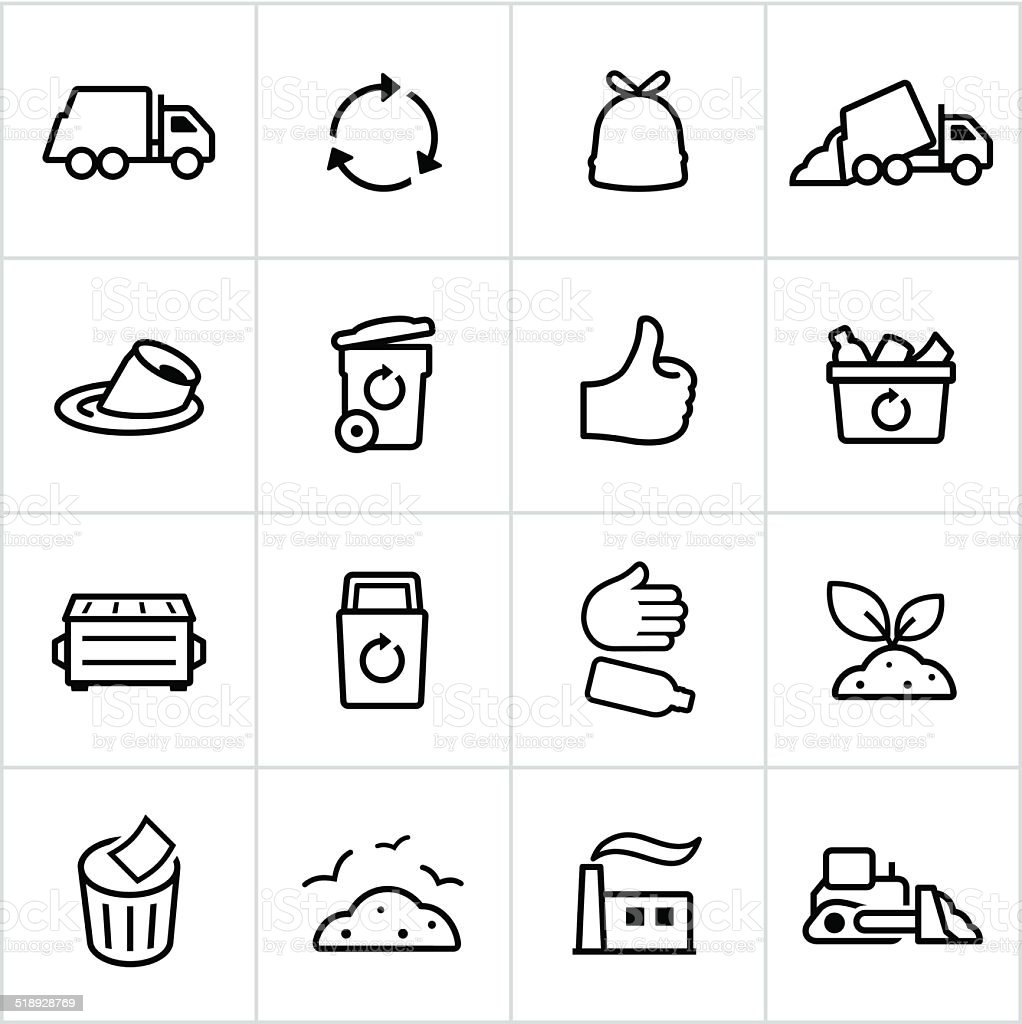 Black Trash Management Icons - Line Style vector art illustration