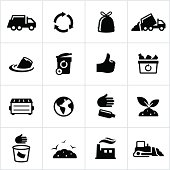 Trash Disposal and Recycling Icons. All white strokes/shapes are cut from the icons and merged allowing the background to show through. File Type - EPS 10.