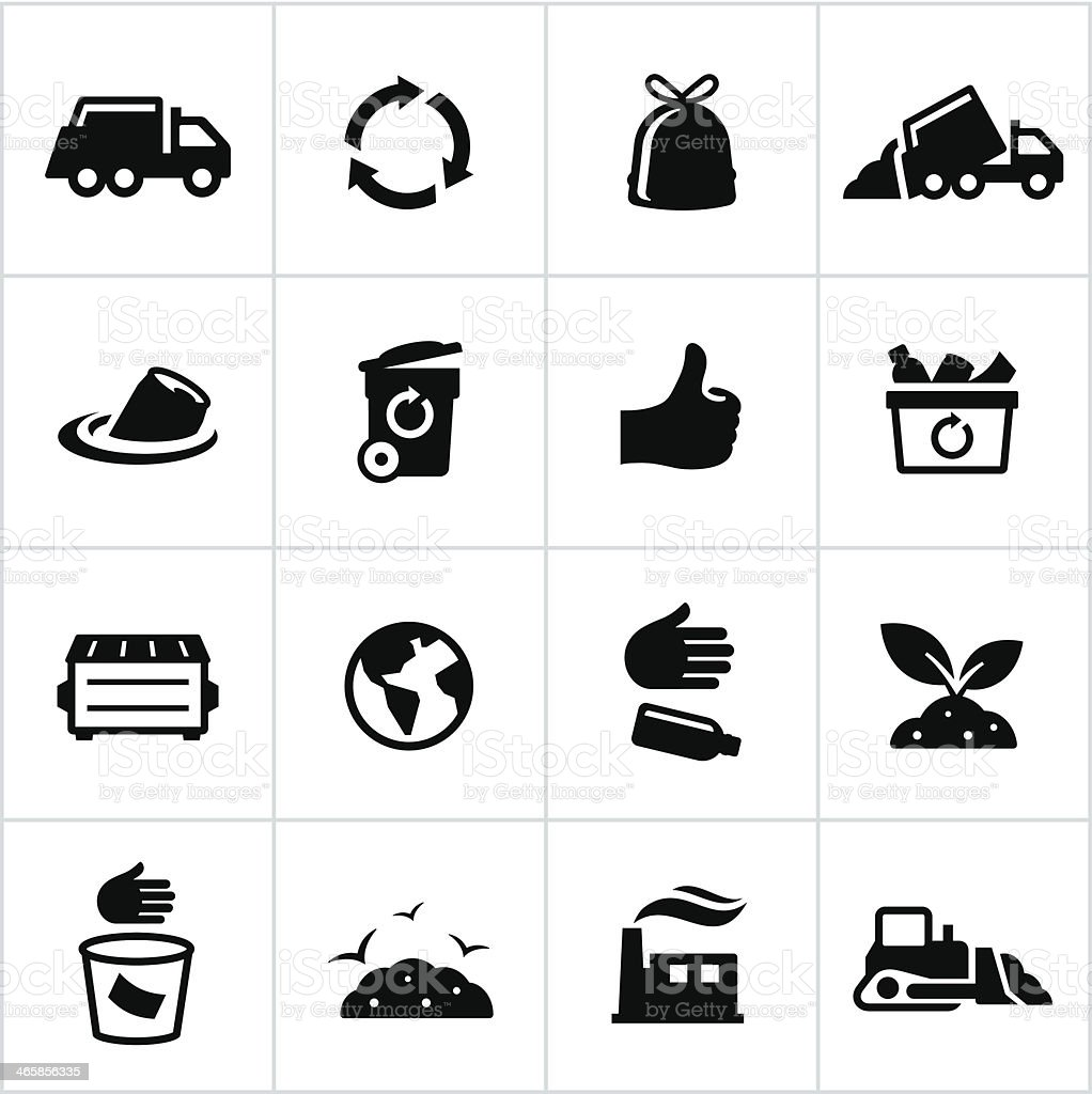 Black Trash Management Icons vector art illustration