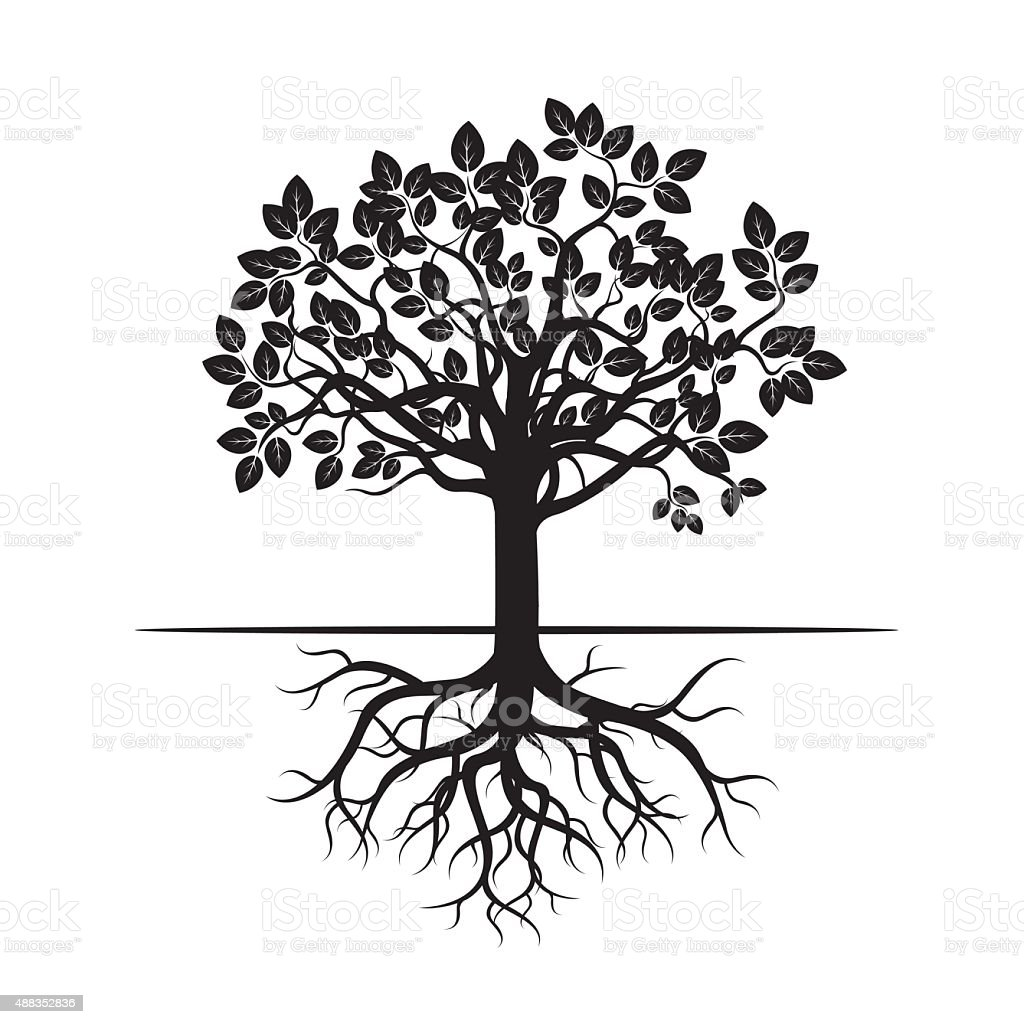 Black Tree And Roots Vector Illustration Stock Vector Art ...