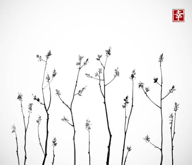 black tree branches with fresh leaves on white background. traditional oriental ink painting sumi-e, u-sin, go-hua. contains hieroglyph - happiness. - twig stock illustrations, clip art, cartoons, & icons