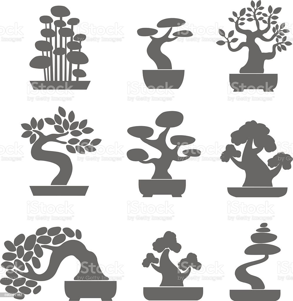 Black Tree Logo Illustration Icon Set Bonsai Stockvectorkunst En