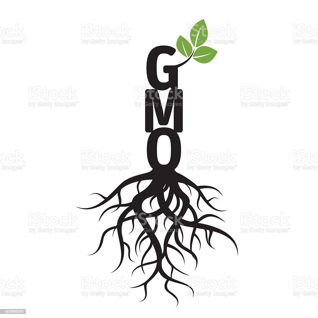 Black árvore, raízes e OGM. - ilustração de arte em vetor