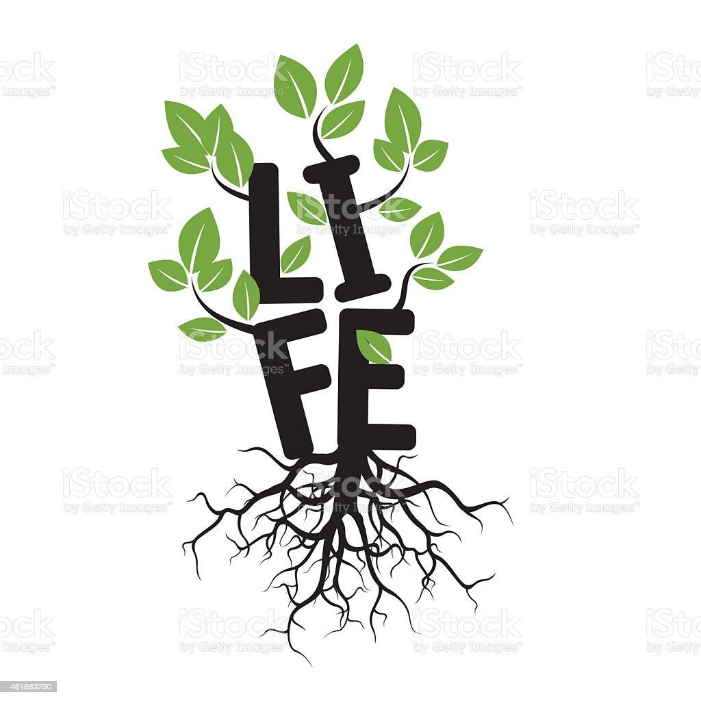 Black tree, raízes e texto de vida - ilustração de arte em vetor
